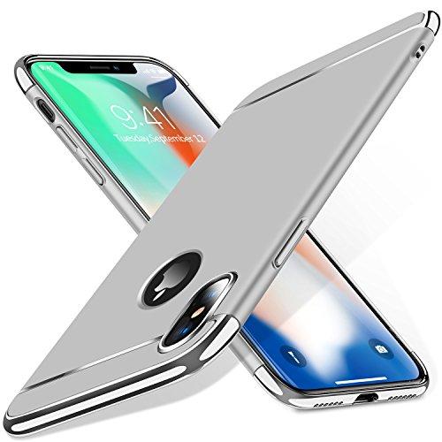 TORRAS iPhone XS Hülle/iPhone X Hülle 3 in 1 Design Ultra Dünn Kratzfest Matt Schutzhülle Hart Plastik Hybrid Case Slim Premium Hardcase Rückseite Handy Hülle für iPhone XS/iPhone X - Silber