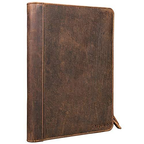 STILORD Julius Vintage Cartella porta Documenti e per Tablet 12 Pollici Organzier rigido Portadocumenti vera Pelle Coloremarrone medio