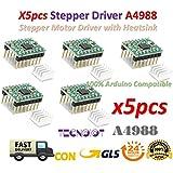 5pcs Reprap Stepper Driver A4988 Stepper Motor Driver Module with Heatsink