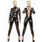 Schwarz Sexy Frau Latex Catsuit Schick Overalls Bodysuit black XXL