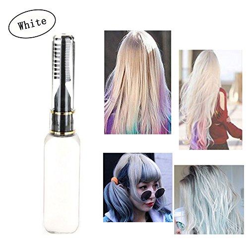 Haarkreide - Greencolourful Mode Langlebige Einweg Haar Farben Creme Haare Färben Kreide Haartönungen mit Kämme, Weiß (Weiße Haare Färben)