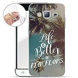 Finoo Samsung Galaxy J3 2016 Weiche flexible Silikon-Handy-Hülle | Transparente TPU Cover Schale mit Motiv | Tasche Case Etui mit Ultra Slim Rundum-schutz | Life is better in Flipflops