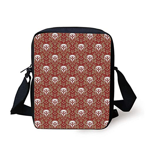Gothic,Baroque Pattern with Floral Curves Old Fashioned Antique Design Skull Motifs Decorative,Ruby Cocoa White Print Kids Crossbody Messenger Bag Purse -