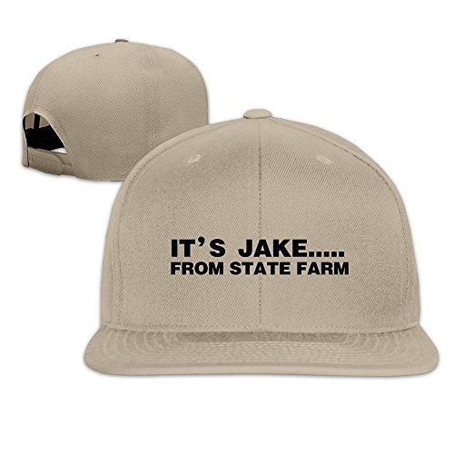 hittings-its-jake-from-state-farm-adjustable-hats-flat-brim-baseball-caps-natural