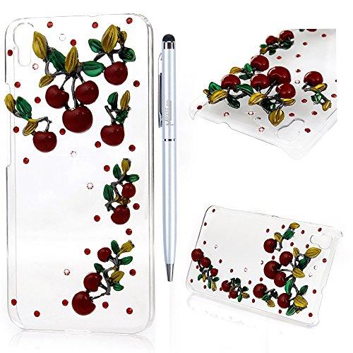 Custodia Huawei Y6 / Honor 4A,Fatto a mano 3D Glitter Bling Strass Cover Rigida Plastica Hard Trasparente - MAXFE.CO Case Cristallo Diamante Plastica PC Duro Protettiva - Ciliegia