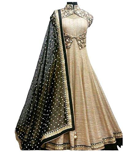 lady studio latest designer Beige long embroidered Anarkali suit