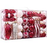 Valery Madelyn 100 TLG 3-16cm Weihnachtskugeln Kunststoff Rot Weiß Baumschmuck Lieber Weihnachtsmann Thema mit Christbaumkugeln und passende Aufhänger Weihnachtsdekoration