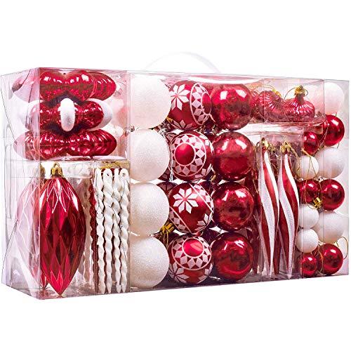 Valery madelyn 100 pezzi set di decorazioni per alberi di natale in plastica con palline rosse bianche dell'albero di natale, cima dell'albero di natale decorazioni natalizie