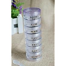 AHIMITSU Caja de píldoras semanal Caja de Almacenamiento de medicamentos portátil Organizador Titular Dispensador de píldoras