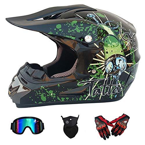 WanSheng D.O.T Zertifizierter Motocross-Helm für Erwachsene MX-Motorradhelm ATV-Roller ATV-Helm Fox-Serie mit Brillehandschuhen Winddichte Maske (S, M, L, XL),S55~56CM -
