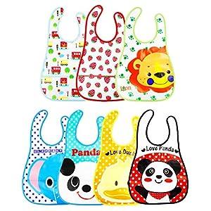 productos bebes: 7 Pcs Unisex Baberos Impermeables Para Bebe Niña Niño Dibujos Animados Baberos B...
