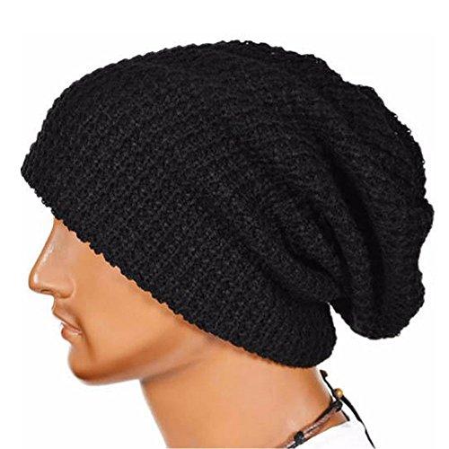Herren und Frauen Muslimische Stretch Turban Mütze Frauen Häkeln Beanie Haarausfall Kopf Schal Wrap Hijab Mütze Slouchy Unisex Caps Hut Strickmütze (Schwarz)