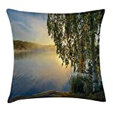 Nature Throw Pillow Cushion Cover, Sunny Day by Misty Lake with Tree Summer Season Horizon August Landscape, Decorative Square Accent Pillow Case, 18 X 18 Inches, Fern Green Light Blue