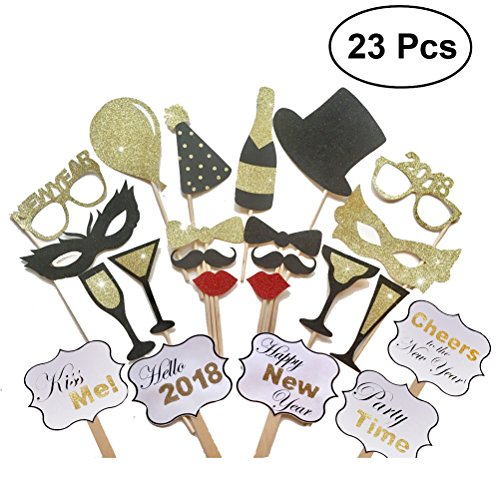OULII Silvester Foto Requisiten 2018 Neujahr Photo Booth Props Set 23 Stücke
