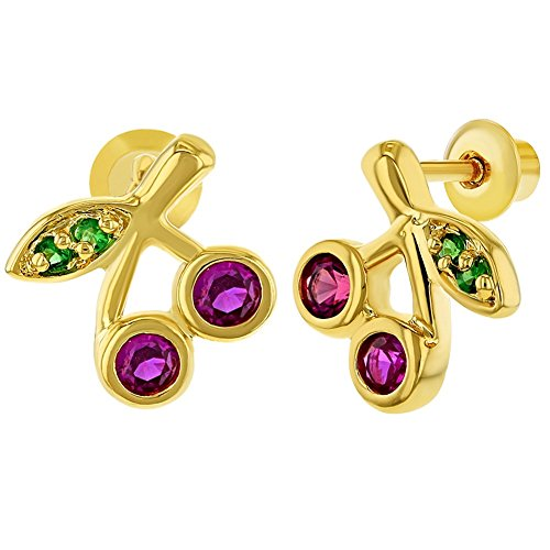 In Season Jewelry Mädchen - Schraubverschluss Ohrringe Fuchsia Kirschen Grüner Kristall 18k Vergoldet