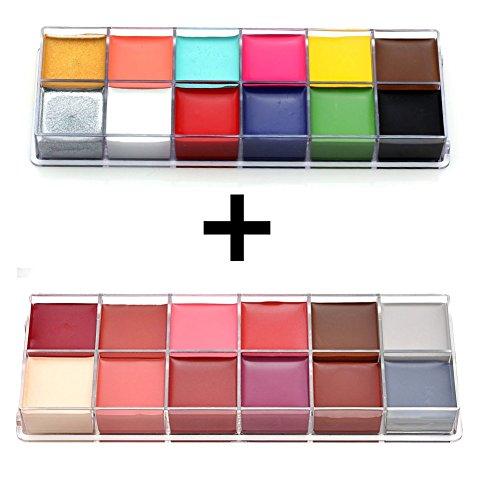 Petansy 24 Farben Halloween Gesicht Farbe Palette Professionelle Körper Malerei Set Hypoallergen & Vegan Paint (Effects Up Kits Special Make)