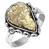 Jeweloporium Solide 925 Sterling Silver Bague Naturel Péruvien Or Pyrite Druzy Pierre gemme Femmes Bijoux Größe 57.75