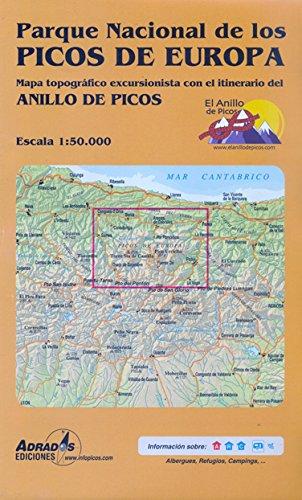 Parque Nacional de los Picos de Europa: Mapa topográfico excursionista con el itinerario del Anillo de Picos por Miguel Ángel Adrados Polo