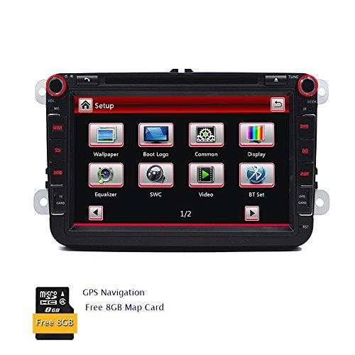 In Dash 20,3cm Digital Touchscreen Car DVD Player GPS Navigation System Autoradio Bluetooth-2DIN Autoradio für VW Volkswagen Golf Amarok T5Jetta EOS Caddy Polo mit gratis Canbus + 8GB Auto, GPS MAP Radio