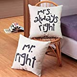 RDPSA Honana Wx-D88 2Pcs Mr Right Kreative Baumwolle Leinen Kissenbezug Bett Sofa Auto Pillowcase One Piece