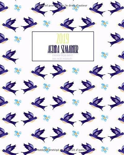 Agenda Semainier 2019 L'agenda façon bullet avec pages pointillés: Motif oiseaux violet, Année 2019, 1 semaine sur 2 pages, Lettrage créatif par Bujo Studio