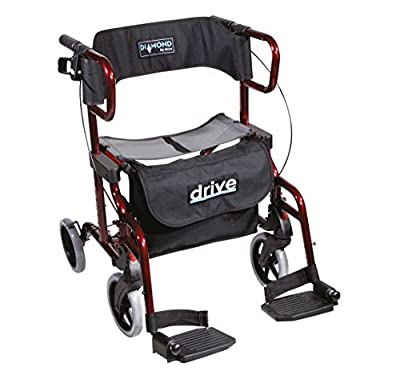 Drive Medical Diamond Deluxe 4 Wheel Rollator & Transit Chair