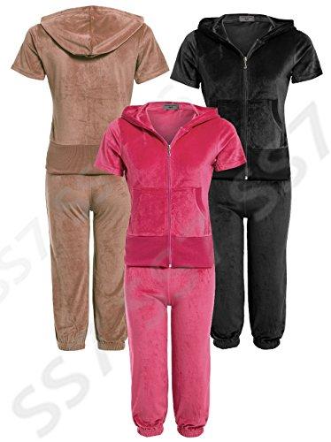 SS7 nouvelles femmes 3/4 velours survêtement, rose, noir, moka, taille 8 - 14 Moka
