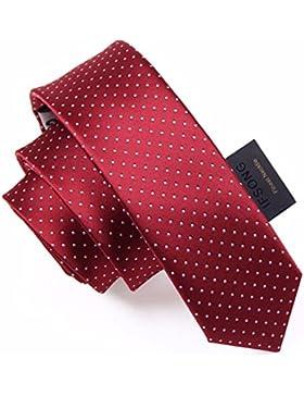 HXCMAN 5cm vino rojo borgoña lunares estrecha corbata Diseño clásico corbata hombres fiesta casual trabajo banquete...