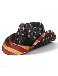 Gr Cowboy Sunhat-5 Stil Nationalflagge Cowboyhut Für Frauen Männer Fedora Hut Sonnenhut (Color : 1, Größe : 58-59cm)