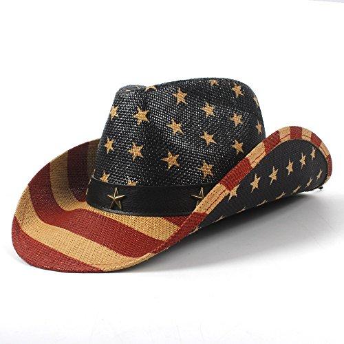 XUJW-Hüte, Western Cowboy Hut, 5 Stil Nationalflagge Cowboyhut für Frauen Männer Fedora Hut Sonnenhut (Farbe : 1, Größe : 58-59cm)