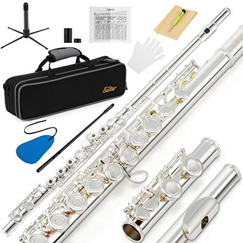 Eastar EFL-2 16 Löcher C Flöte Instrument plattiert öffnen/schließen Loch Silber Querflöte Anfänger Set mit Grifftabelle, Koffer, Reinigungsstange, Tuch und Flöte Swab, Schraubendreher und Handschuhe