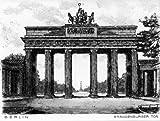 Einfarbige original Radierung Berlin, Brandenburger Tor von Peters als loses Blatt, Graphik, kein Kunstdruck, kein Leinwandbild