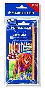 Staedtler - Noris Club 128/1284 - Polybag 1 Etui Carton 10 Crayons de Couleur Assortis + 1 Taille-Crayon 510 90 et 1 Crayon Arc-en-Ciel 1274