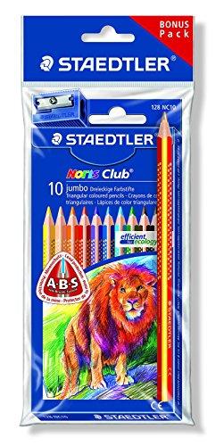 Noris Club jumbo Farbstifte Bonuspack 10 Stück mit Regenbogenstift und Spitzer Gratis (Regenbogen Buntstift)