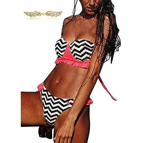 BYD Mujeres Bikinis Conjuntos Push Up Bañador a Rayas Coloridos Ropa de baño 2pcs Bandeau Tops +