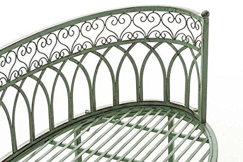 CLP Metall-Gartenbank AMANTI mit Armlehne, Landhaus-Stil, Eisen lackiert, Design antik nostalgisch, Form oval ca. 110 x 55 cm Antik Grün - 6