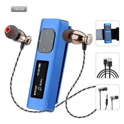 MP3 Player mit Kopfhörer Sport, Anti-Shock Aluminium-Gehäuse MP3 Player 16gb mit Display FM Radio / Armband / Clip MP3 Player Sport für Joggen, Wandern oder Camping