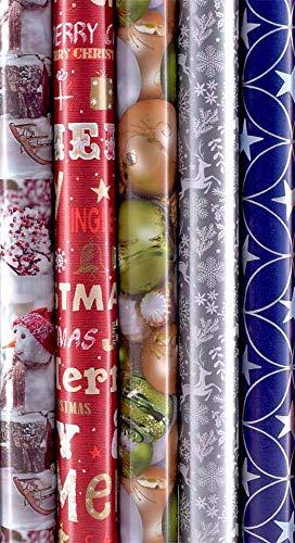 5 Rollen Weihnachtspapier, Geschenkpapier Weihnachten 2m x0,7m