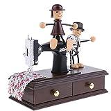 Homyl Hochwertige Nähmaschine mit 2 Puppen Spieluhr Spieldose Schmuckdose Dekorative Handwerk Spielzeug