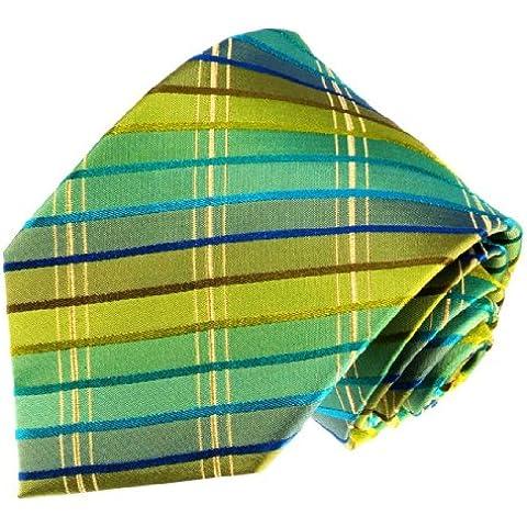 Lorenzo Cana–exclusiva Designer corbata de seda 100% seda–Corbata verde turquesa azul oro cuadros