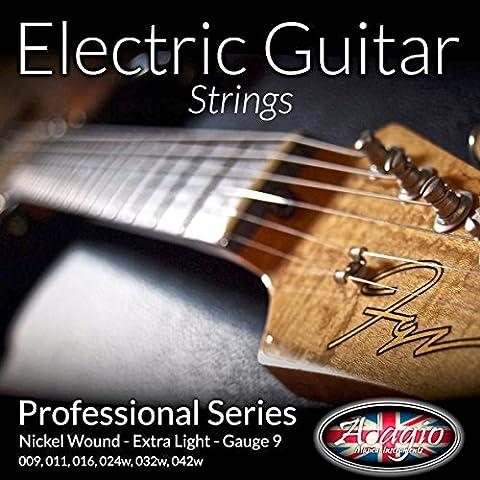 Adagio Professionelle Saiten E-Gitarre, 9–42 (Nickel Extra-slinky E-gitarre)