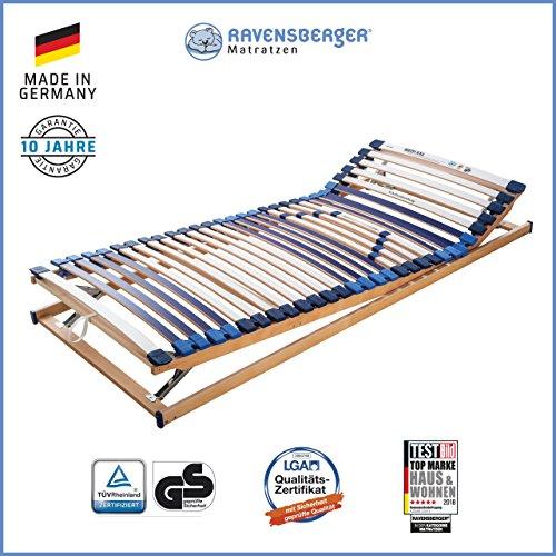 RAVENSBERGER MEDI XXL® 5-Zonen-30-Leisten-BUCHE- Schwergewichtsrahmen | Verstellbar | Made IN Germany - 10 Jahre GARANTIE | TÜV/GS + Blauer Engel - Zertifiziert | 100 x 200 cm -