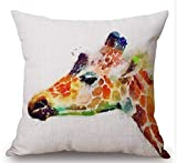 Gorgeous ornaments Watercolor Animal Horse Lion Tiger Owl Giraffe Bear Square Decorative Throw Pillow Case Cushion Cover 18inchs ¡ (5)