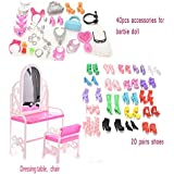 Buytra 40 Pieces Jewelry Necklace Earring Shoes Crown Accessories 1 Set Dressing Table Chair 20 Pairs Shoes For Barbie Dolls