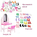 #9: Buytra 40 Pieces Jewelry Necklace Earring Shoes Crown Accessories 1 Set Dressing Table Chair 20 Pairs Shoes for Barbie Dolls