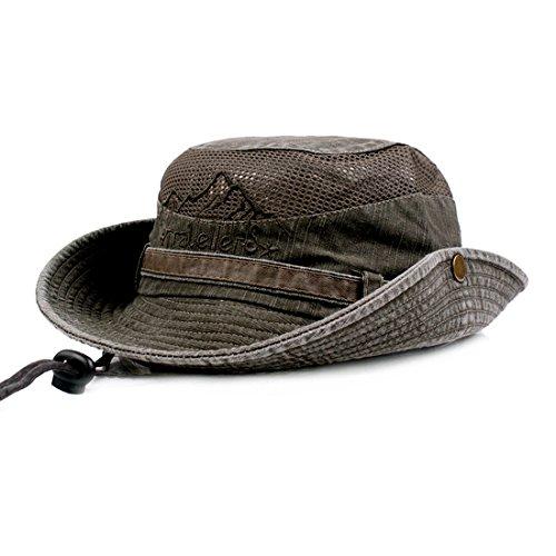 KeepSa Para Mujer para Hombre Sombrero para el Sol de algodón de ala Ancha Bucket Hat Verano protección UV Bordado Plegable Pesca Hat