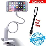 #7: XORDUX™ Felexible Mobile Holder for Bed   flexible mount mobile holder   mobile holder for bed and table   Mobile Stand for home and Free USB Light [ COLOR MAY VARY ]