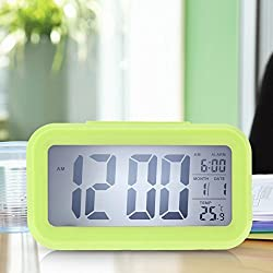 Generic Time Date Alarm Clock Temperature Display LED Alarm Clock Light-activated Sense Snooze Function Calendar Digital Clock Reveil Green