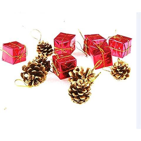 Decoración de Navidad Navidad Navidad Artificial?agujas de pino ratán adornos anillo alfabeto tarjetas de adornos de Navidad bolsa de regalo de Navidad piñas agregar adornos (6)
