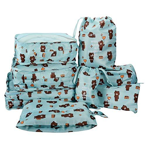 8 in 1 Kleidertaschen Set Koffer Organizer Reise Kleidertaschen Reisetasche in Koffer Wäschebeutel Schuhbeutel Kosmetik Aufbewahrungstasche Farbwahl Bär EINWEG